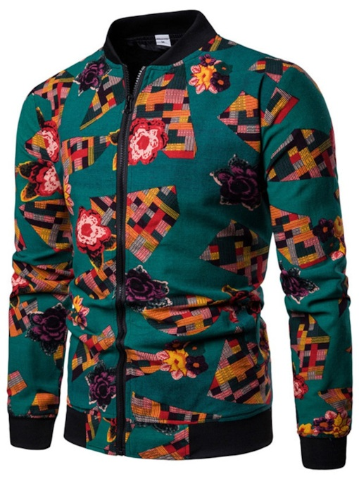 Casual Stand Collar Slim Floral Print Men's Jacket