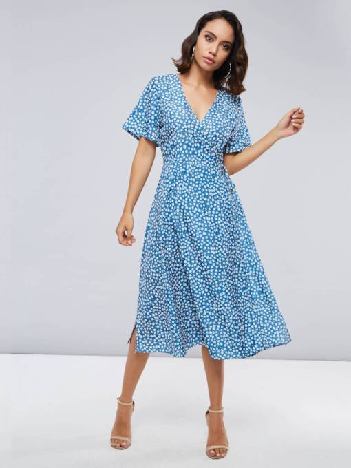 V Neck Blue Polka Dots Women's Day Dress