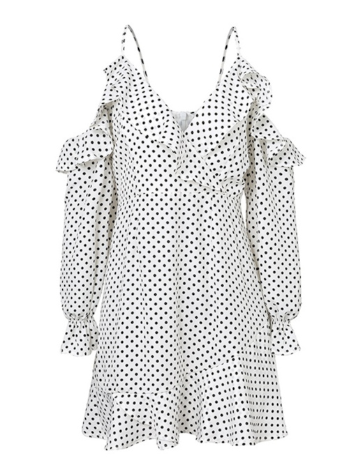 Spaghetti Strap Polka Dots Women's Long Sleeve Dress