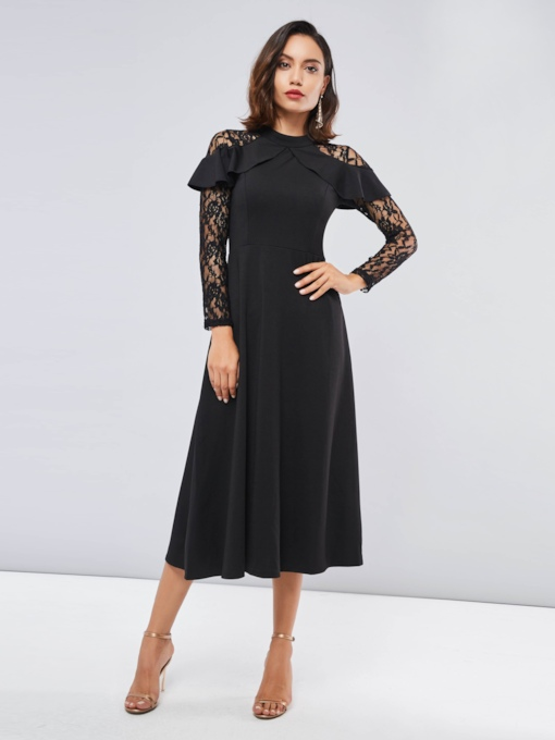 Lace Patchwork Black Women's Maxi Dress