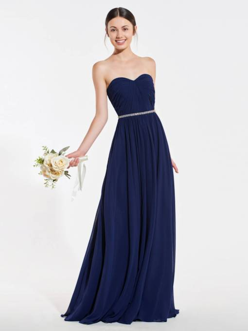 Beaded Belt Pleats Long Bridesmaid Dress