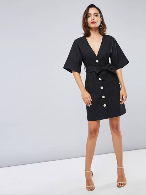 Black Single-Breasted V-Neck Women's Day Dress