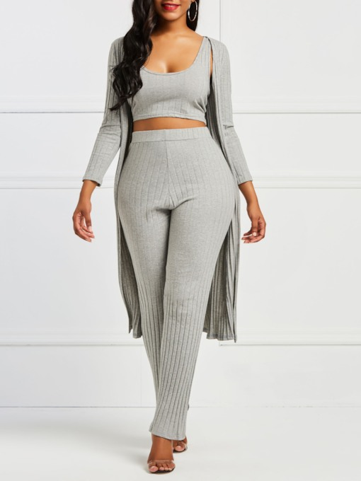 Casual Plain Sweater Patchwork Straight Women's Two Piece Sets
