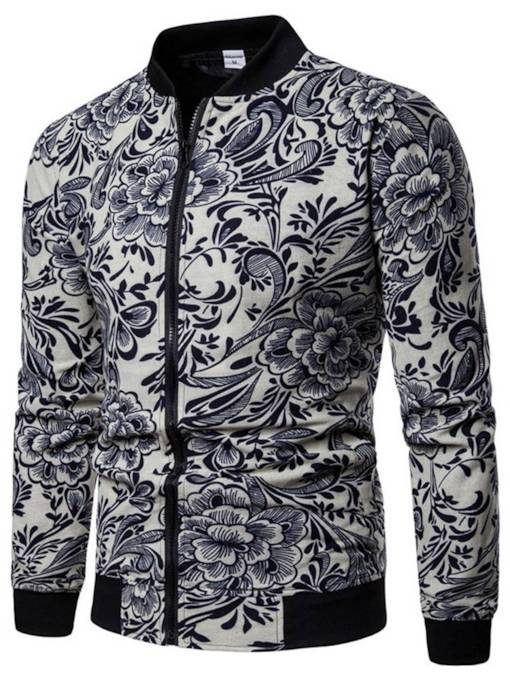 Stand Collar Casual Slim Floral Print Men's Jacket