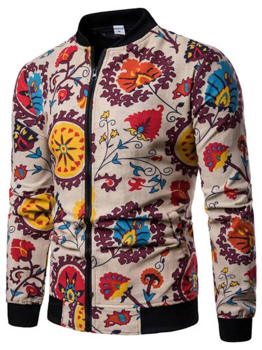 Stand Collar Zipper Slim Floral Print Men's Jacket