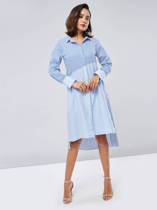 Lapel Long Sleeve Striped Women's Shirt Dress