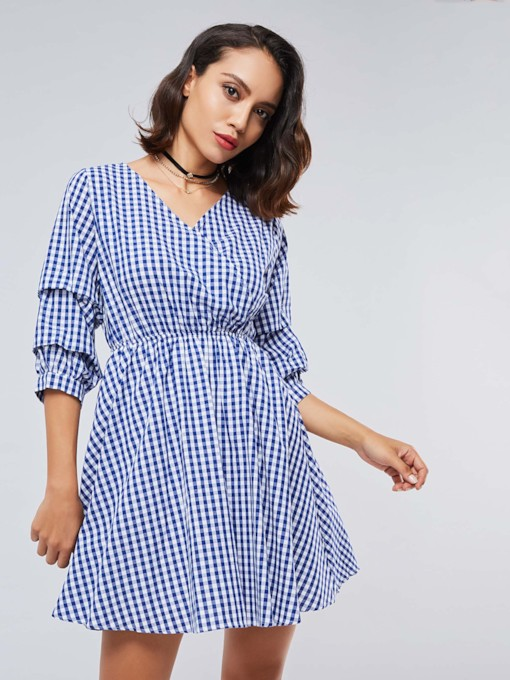 V Neck Plaid Women's Day Dress