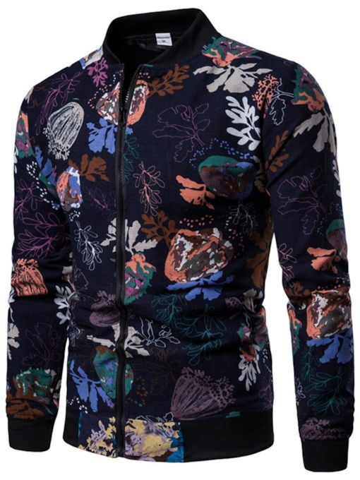 Stand Collar Slim Casual Floral Print Men's Jacket