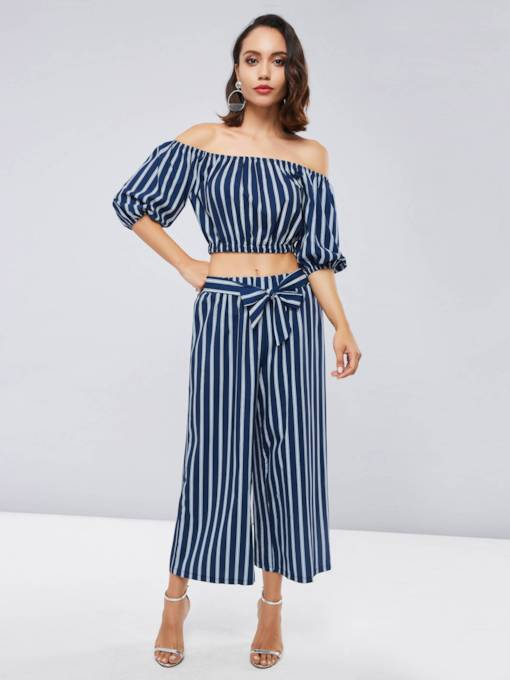 Stripe Off Shoulder Tank Top and Pants Women's Two Piece Set