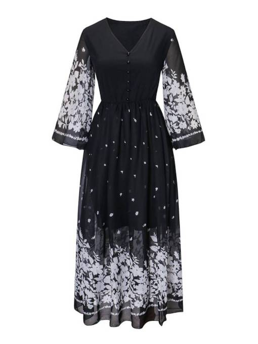 V-Neck 3/4 Length Sleeves Women's Maxi Dress