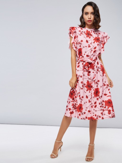 Red Falbala Women's Day Dress