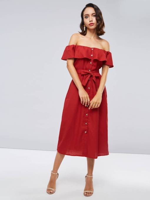 Red Off Shoulder Single-Breasted Women's Day Dress