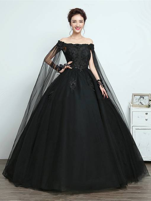 Off the Shoulder Appliques Ball Gown Black Quinceanera Dress
