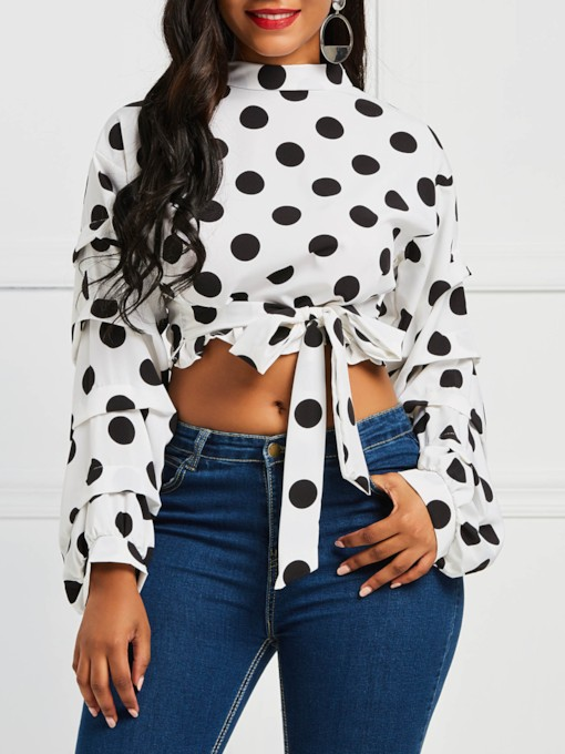 Stand Collar Polka Dots Lace-Up Cropped Women's Blouse