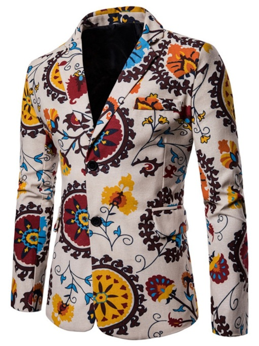 Ethnic Notched Lapel Slim Floral Print Men's Blazer