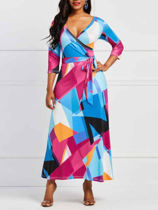 V-Neck Three-Quarter Sleeve Print England Women's Maxi Dress