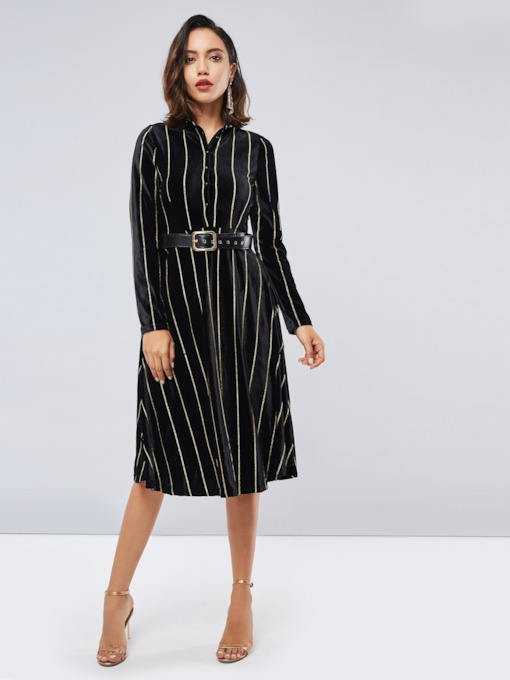 Striped Long Sleeve Women's Dress