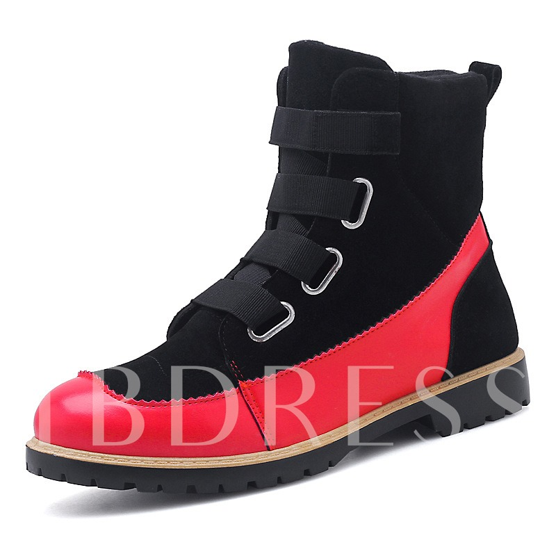 Suede Round Toe Patchwork Velcro Ankle Martin Boots for Men
