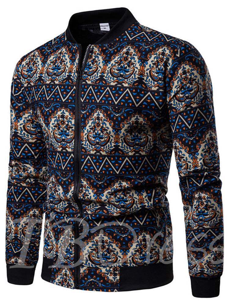 Buy Stand Collar Zipper Floral Print Slim Men's Jacket, Fall,Winter, 13402292 for $31.57 in TBDress store