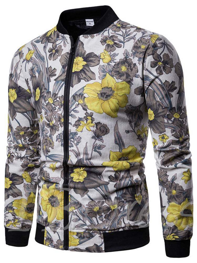 Buy Stand Collar Slim Floral Print Zipper Men's Jacket, Fall,Winter, 13402296 for $31.57 in TBDress store