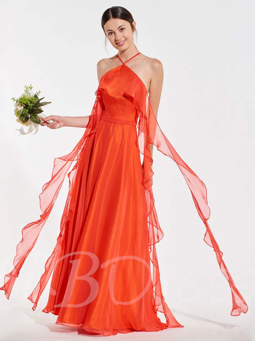 Halter Ruffles Sashes Bridesmaid Dress