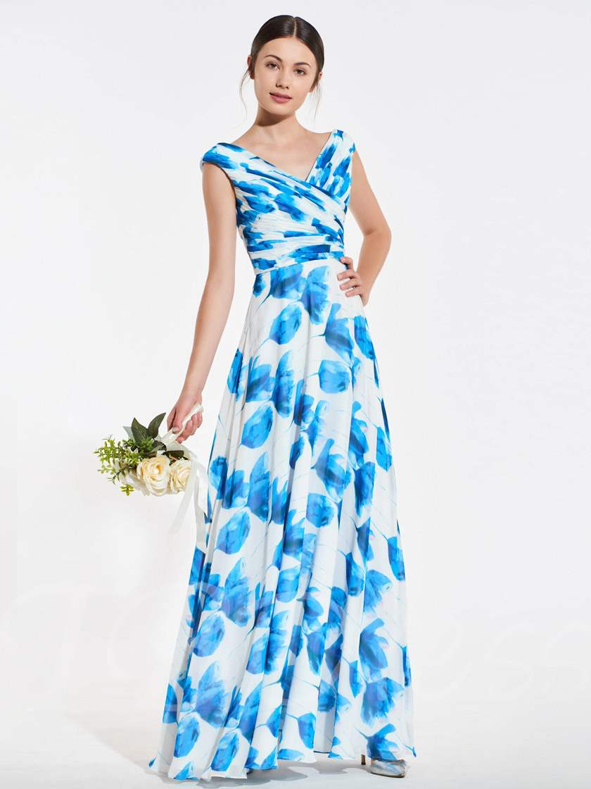 V-Neck Pleats Printed Bridesmaid Dress