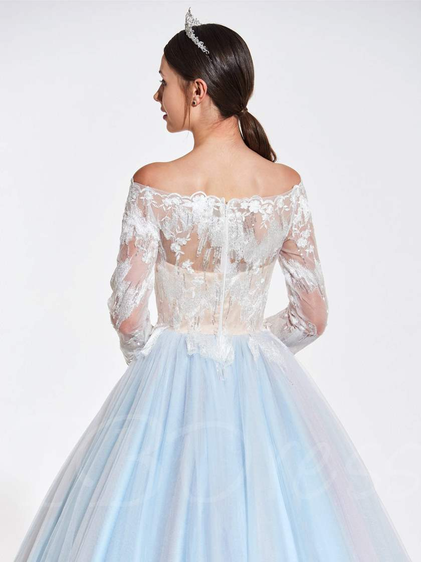 Off-the-Shoulder Beaded Lace Quinceanera Dress