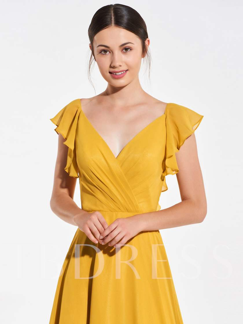 Ruffles Sleeves Backless Bridesmaid Dress