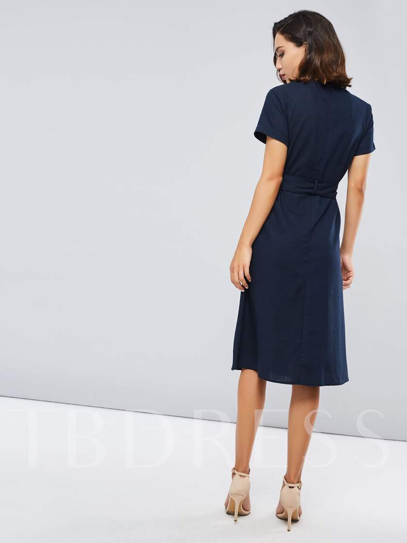 Single-Breasted Short Sleeves Women's Day Dress