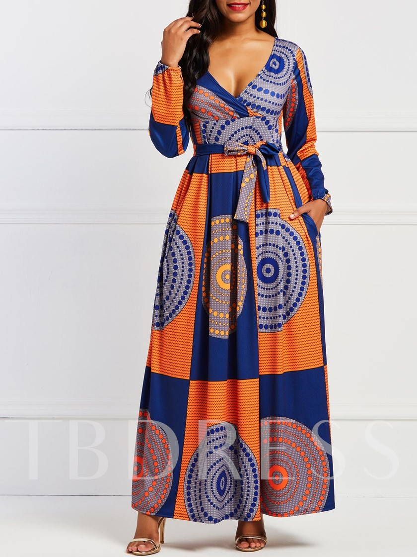 Long Sleeve V-Neck Print Geometric Women's Maxi Dress