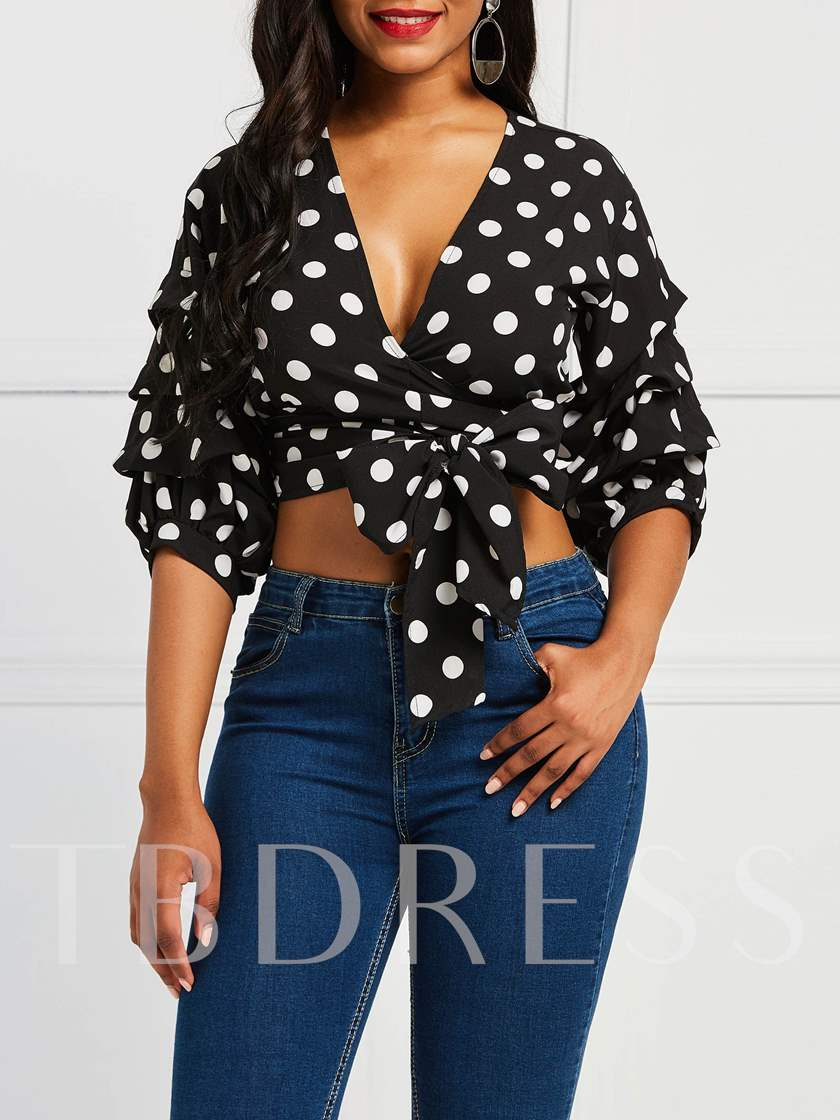 V-Neck Lace-Up Polka Dots Puff Sleeve Women's Blouse