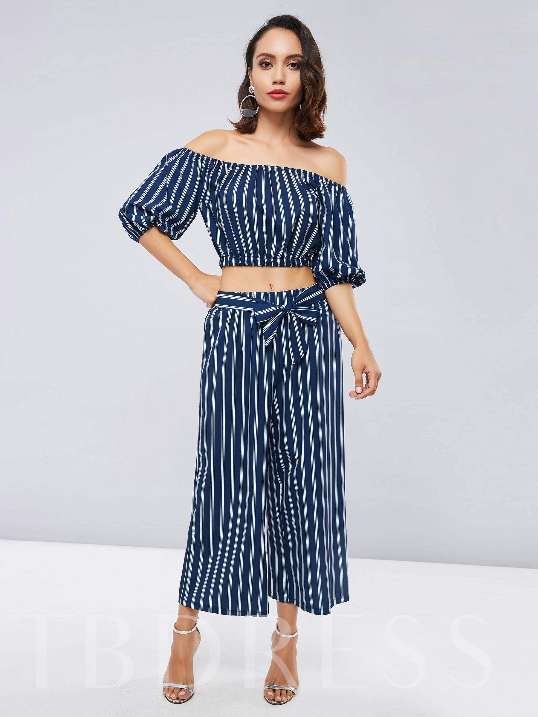 Buy Stripe Off Shoulder Tank Top and Pants Women's Two Piece Set, 13402762 for $22.76 in TBDress store