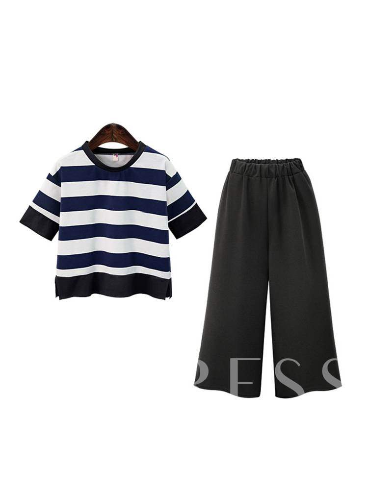 Buy Stripe Tee and Cropped Pants Women's Two Piece Set, Summer,Fall, 13401573 for $19.49 in TBDress store