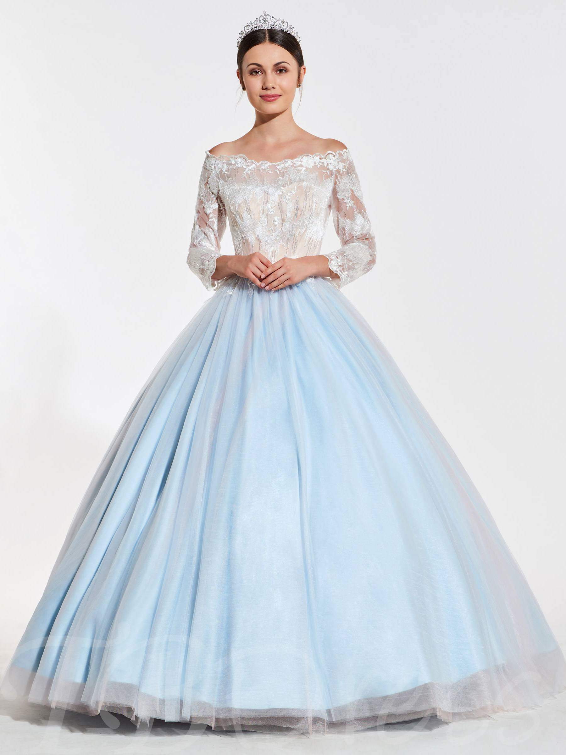 Buy Off-the-Shoulder Beaded Lace Quinceanera Dress, Spring,Summer,Fall,Winter, 13402710 for $190.99 in TBDress store