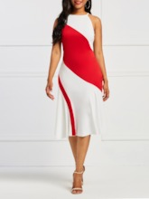 Sleeveless Hollow Color Block Women's Bodycon Dress
