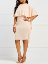 Patchwork Half Sleeve Round Neck Plain Women's Bodycon Dress