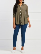 Plain Pleated Asymmetric Women's Shirt
