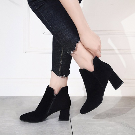 Pointed Toe Side Zipper Chunky Heel Plain Women's Ankle Boots