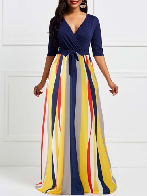 Half Sleeve Stripe V-Neck Women's Maxi Dress