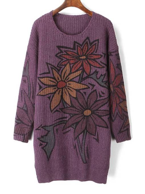 Floral Print Mid Length Scoop Neck Women's Sweater