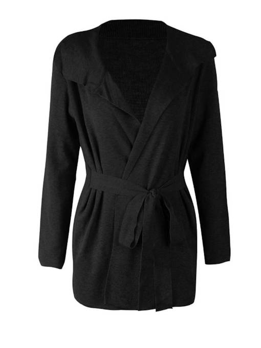 Pleated Wrapped Lace Up Women's Sweater Coat