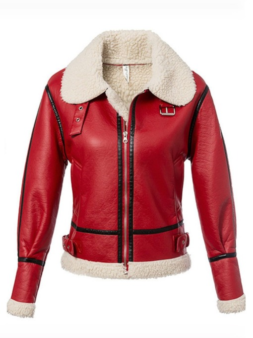 Zipper Up Faux Fur Patchwork Women's PU Jacket