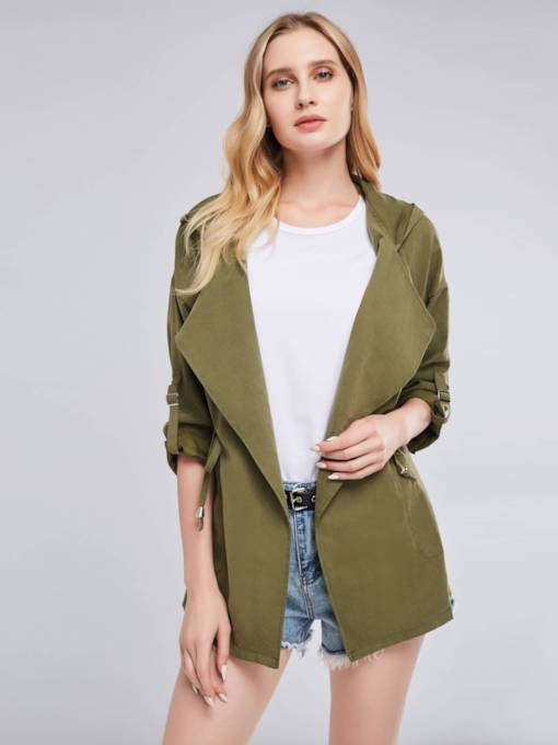Army Green Lapel Lace Up Women's Trench Coat