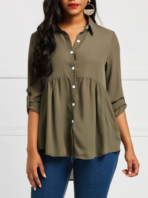 Plain Pleated Asymmetric Women's Blouse