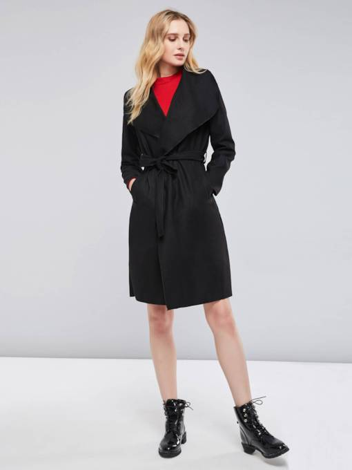 Tie Waist Slim Fit Pocket Mid Length Women's Overcoat