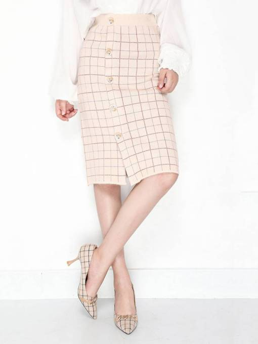 Plaid Single Breasted Split Women's Bodycon Skirt