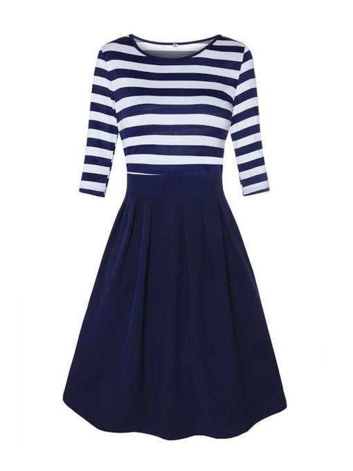 3/4 Length Sleeves Stripe Patchwork Women's Day Dress