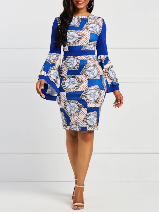 Geometric Prints Bell Sleeve High Waist Bodycon Dress