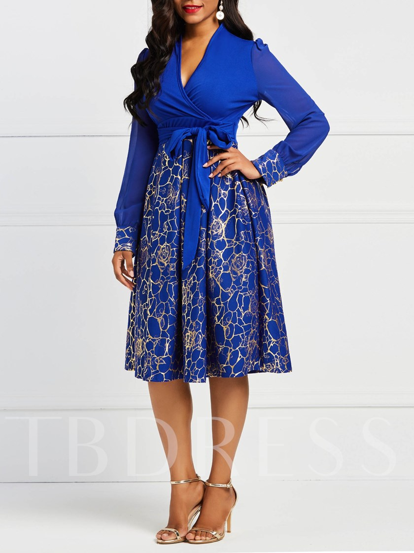 V-Neck A-Line Prints Women's Long Sleeve Dress
