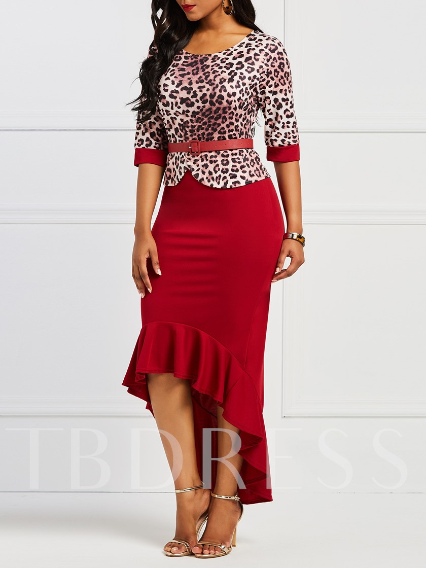 Round Neck Falbala Prints Belt Bodycon Dress